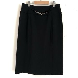 90s Cleo Petites Black Pencil Skirt Chain Accent